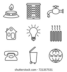 Vector Illustration of Thin Line Icons for Communal Payments. Editable Line. Linear Symbols Set: Gas, Apartment, Water, House, Electricity, Heating, Phone, Garbage, Internet.