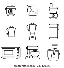 Vector Illustration of Thin Line Icons for Kitchen Appliances. Collection 30. Symbols Set: Pressure Cooker, Meat grinder, Vegetable cutter, Kettle, Blender, Coffee grinder, Microwave, Mixer, Juicer.