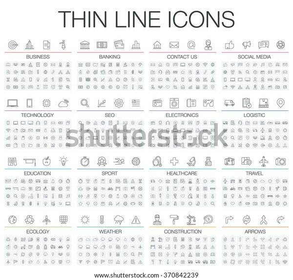Vector illustration of thin line icons for business, banking, contact, social media, technology, seo, logistic, education, sport, medicine, travel, weather, construction, arrow. Linear symbols set.