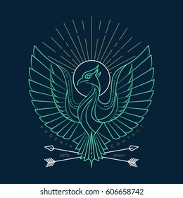 Vector illustration of thin line phoenix icon with shadows. Bird graphic design logo, label, badge, sticker, emblem, sign, identity.