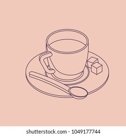 Vector illustration thin line sketch with 3D coffee cup with pieces of sugar in isometric flat style