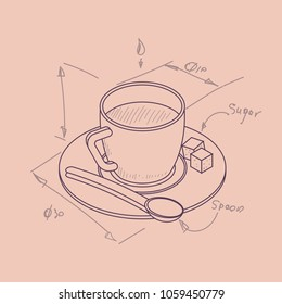 Vector illustration thin line sketch with 3D coffee cup with pieces of sugar in isometric drawing sketch flat style