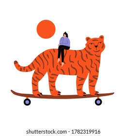 Vector illustration with thinking girl and tiger with skateboard. Funny print design with woman and animal