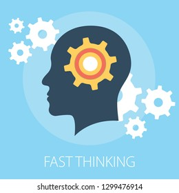"Vector illustration of thinking & idea or solution concept with ""fast thinking"" solution and idea concept."