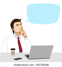 Vector illustration of thinking men. Portrait of male businessman who sits at the table in front of the computer and about something thought.