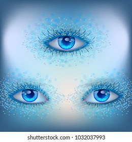 Vector illustration, the third eye of a fantastic creature, clairvoyance, prophecy, alien gaze, fantasy, blue eyelashes in the frost, see through time and space.