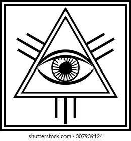 Vector illustration of a third eye mystical sign. The eye of Shiva symbol design