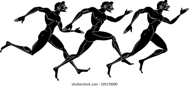 Vector illustration of three ancient greek athletic runner