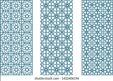 Vector illustration. Three arabesque geometric seamless jalousies in flat and clean style.