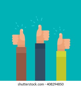 Vector Illustration of three arms, giving a thumbs-up, in flat minimal style. Social involvement and activity concept, like symbol.