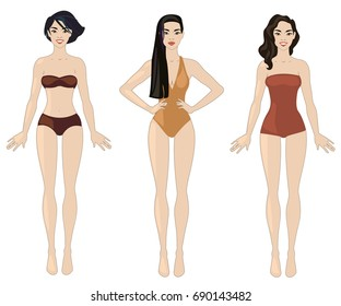 Vector illustration with three asian women.