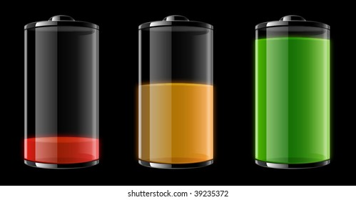 Vector illustration of three batteries showing different stages: Empty, half-full and full.