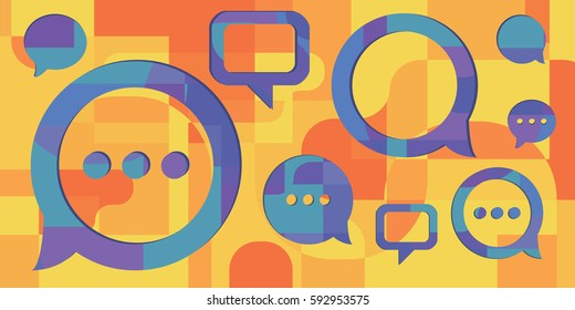 vector illustration of  three bright bulbs in geometrical colorful flat art style for innovation concepts