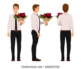 Vector illustration of three business men with  bouquet of flowers in hands. Cartoon realistic people illustartion.Worker in a shirt with a tie.Front view man,Side view man,Back side view man. Roses.