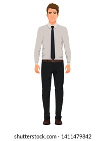 Vector illustration of three business men in official clothes with hand up. Question pose. Presentation pose. Cartoon realistic people illustartion. Front view man.