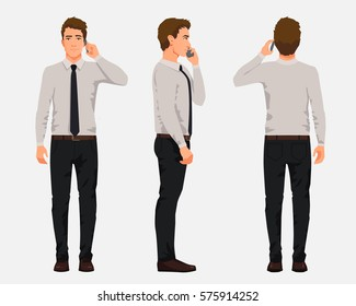 Vector illustration of three business men in official clothes with phone in one hand. Cartoon realistic people illustartion.Worker in a shirt with a tie.Front view man,Side view man,Back side view man