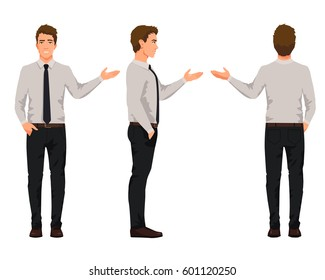 Vector illustration of three business men in official clothes with hand up. Question pose. Presentation pose.Cartoon realistic people illustartion.Front view man,Side view man,Back side of man