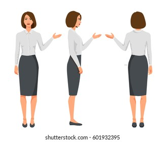 Vector illustration of three business woman in official clothes.Question pose.Presentation pose.Cartoon realistic people.Flat young woman.Front view girl,Side view girl,Back side of girl