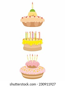 Vector illustration of three cakes