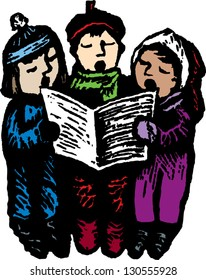 Vector illustration of three children singing carols