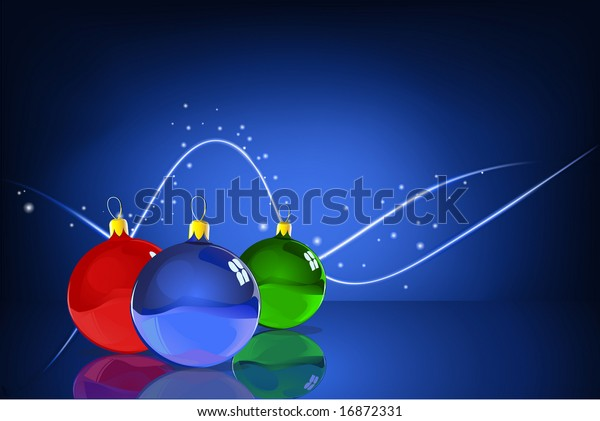 Vector Illustration of three Christmas Balls with reflections on the blue Abstract lines background