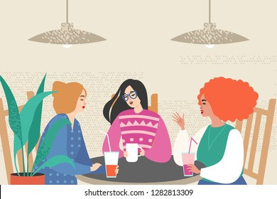 Vector illustration with three cute girls siting in a cafe.