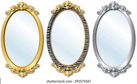 Vector Illustration of three different elegant oval shaped mirrors.