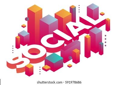 Vector illustration of three dimensional word social with abstract colorful shapes on white background. Global social community concept. 3d art style design for web, site, banner, presentation
