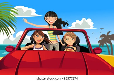 A vector illustration of three female friends having fun in a car driving near a beach