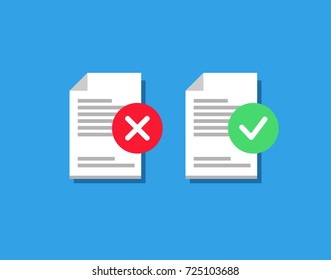 Vector illustration of three form, blank, summary with approved and rejected symbol. Isolated. Flat style. Icon. On blue background