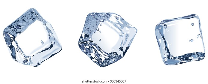 Vector Illustration. Three ice cubes isolated on white background.