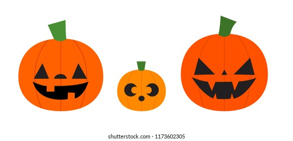 Vector illustration of three jack o' lanterns