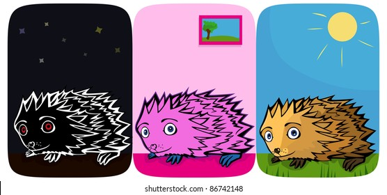 A vector illustration of three little funny Hedgehogs. Can be recolored or scaled without problems and quality loss