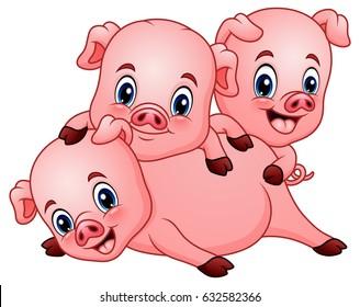 Vector Illustration of Three little pig cartoon