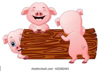 Vector Illustration of Three little pig cartoon in the log