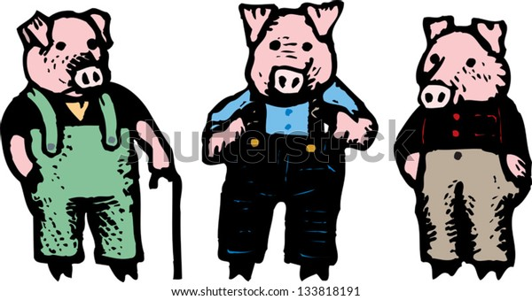 Vector illustration of the three little pigs