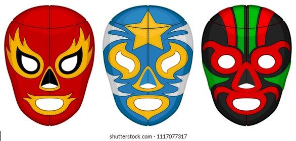 Vector illustration of three luchador (lucha libre, Mexican wrestling) masks.