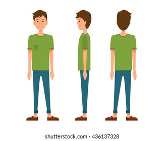 Vector illustration of three men in casual clothes under the white background. Flat people illustartion. Flat young man. Front view man, Side view man, Back side view man