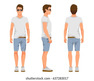 Vector illustration of three men in casual summer clothes. Cartoon realistic people illustartion.Flat young man in a light T-shirt, denim shorts and sneakers. Front view, Side view, Back side view man