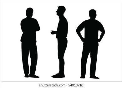 Vector illustration of three men silhouettes under the white background