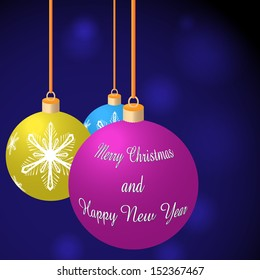 Vector illustration of three Merry Christmas balls on blue background