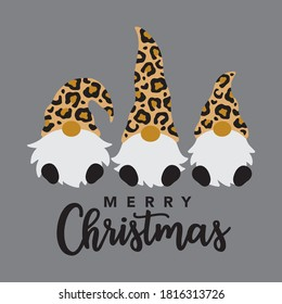 Vector illustration of three Merry Christmas gnomes with leopard print pattern hat.