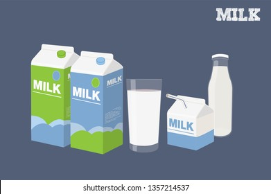 Vector Illustration of Three Milk containers, a Glass of Milk and a Bottle of Milk Isolated