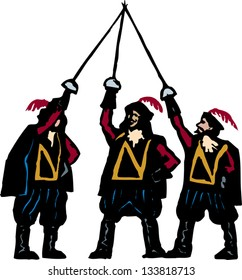Vector illustration of the three musketeers