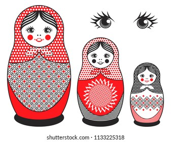 Vector illustration - three nested dolls decorated with geometric ornaments.