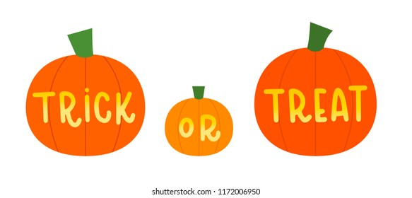 Vector illustration of three pumpkins that say trick or treat