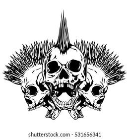 22aba3b55187 Vector illustration three punk skulls. Skull with mohawk on his head and  open jaws.