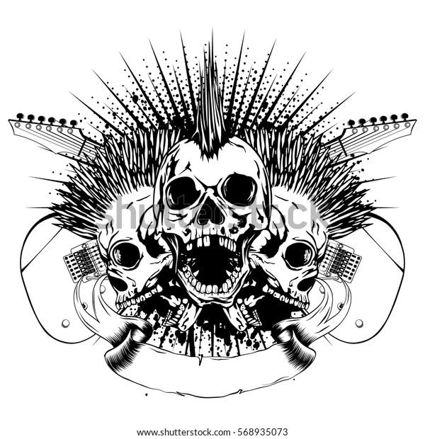 vector illustration three punk skulls mohawk stock vector  royalty free  568935073