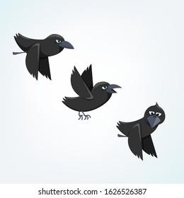 vector illustration of three ravens flying