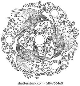 Vector illustration of three ravens viking fantasy Celtic ornament black and white